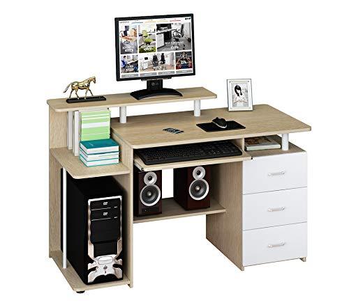 hjh OFFICE Computertisch Büro-Schreibtisch Stella mit Standcontainer, Tastaturauszug, Monitorpodest, viele Ablagefächer, robust gefertigt, einfacher Aufbau, PC-Workstation (Eiche/weiß)