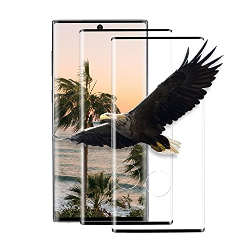 [2 Unidades] Protector de Pantalla para Samsung Galaxy Note 10 Plus, Cristal Templado 3D Curved Full Cove, Dureza 9h, Antihuellas Dactilares, Película de Teléfono para Samsung Note 10 Plus [Negro]