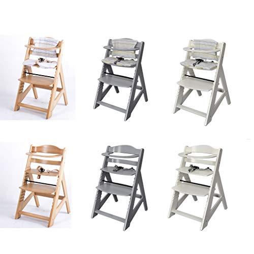 Kinderhochstuhl mitwachsend, Treppenhochstuhl, aus massivem Buchenholz, Hochstuhl ab 6 Monaten bis 10 Jahre 2533-Weiß-Natur-Grau (Natur)