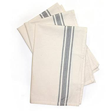 Aunt Martha's 18 x28  Gray Striped Dish Towels Pkg of 3