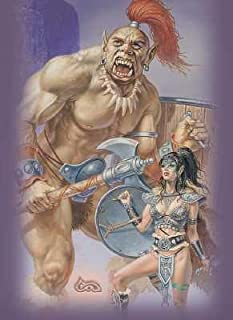 Ultra Pro Gallery Series Deck Protector - Clyde Caldwell - Ogre & Elf Warrioress - Defenders of the Dragon 3 of 3 - Gaming Sleeve - Includes 50 Pack of Standard Size Deck Protector Sleeves
