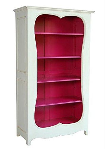 Casa Padrino Barock Bücherschrank Weiss/Pink B 110 x H 185 cm Bücherregal Regal Schrank