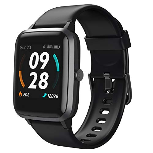 LETSCOM Smart, GPS Running Fitness Heart Rate Step Counter Sleep Monitor, IP68 Waterproof Digital Watch Activity Tracker Compatible with iPhone Android Phones, Black