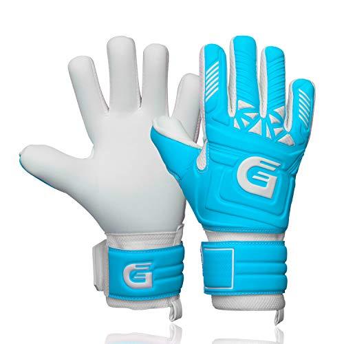 GUARDY - Guantes de portero para niños – Guantes de portero duraderos para niños – Guantes de portero con agarre extra fuerte (azul con protección para los dedos, 6)
