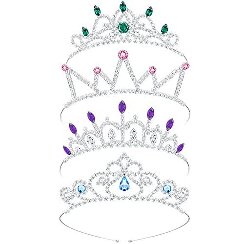 4 Coronas de Diamantes de Imitación Plata Tiara de Cristal Corona de Princesa de Diamantes de Imitación Diadema Tiara de Princesa de Cristal para Niños, Niñas Pequeñas, 4 Estilos