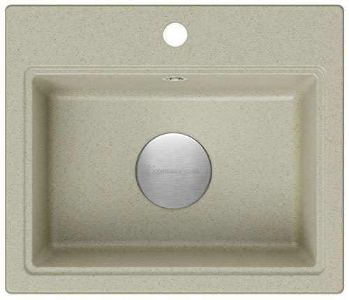 Spülbecken Beige 51 x 43,5 cm, Granitspüle + Siphon Premium, Küchenspüle ab 50er Unterschrank, Einbauspüle von Primagran