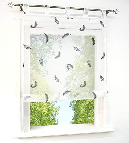 Store Romain Transparent Motif Plumes Imprimés Décoration de Fenêtre Lot de 1 Pièce (LxH 60x140cm, Gris-Bleu-Pattes)
