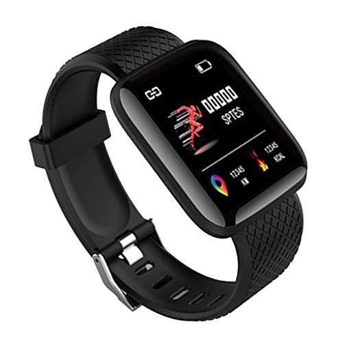 Shiwaki Reloj Inteligente Pulsera Monitor De Ritmo Cardíaco Rastreador De Ejercicios Reloj Táctil 116plus - Negro, 43.5x36x12.3mm