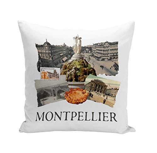 Coussin 40x40 cm Montpellier Collage Ville France Sud Patrimoine