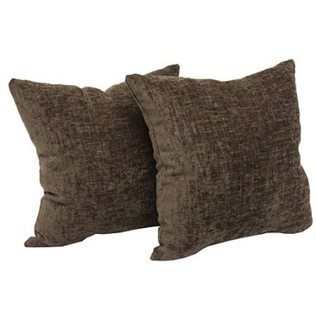 """Mainstays Chenille 18"""" x 18"""" Decorative Pillow, Set of 2, Brown"""