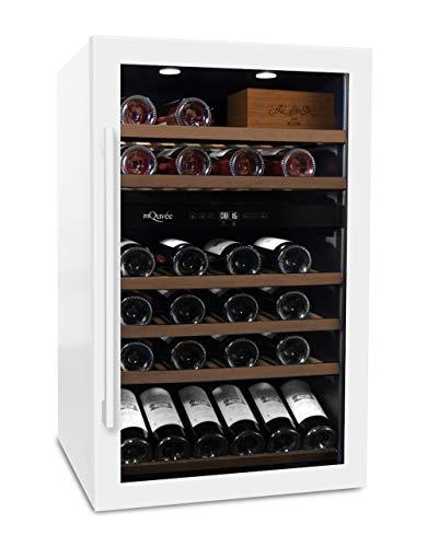mQuvee Weinkühlschrank Freistehend WineServe 59 Weiß, Platz für bis zu 57 Flaschen, 2 Temperaturzonen 5-20°C, Höhe 88,5 cm