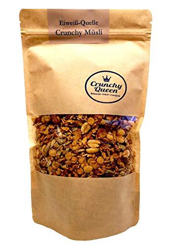 Crunchy Queen handgemachtes Eiweiß-Quelle Crunchy Granola Müsli 340g, Protein Müsli ohne Zusatz von raffiniertem Zucker (33% pflanzliches Eiweiß)