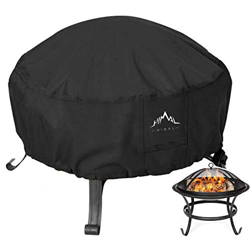 Himal Outdoors Fire Pit Cover- Heavy Duty Waterproof 600D Polyster with Thick PVC Coating, Round Fire Pit Cover, Waterproof, 44 Inch, Black