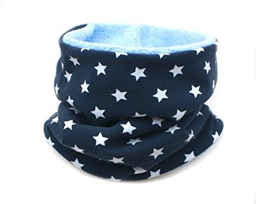 Kleine Könige Kleine Könige Loop Schal Kinder Jungen bis 8 Jahre · Modell Sterne blau · Innen Fleece hellblau · Made in Germany