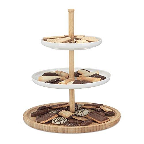 Relaxdays Etagere Bambus und Keramik, 3-stöckig, Servierplatte, DxH: 30 x 36 cm für Kekse, Obst, Knabberzeug, natur-weiß