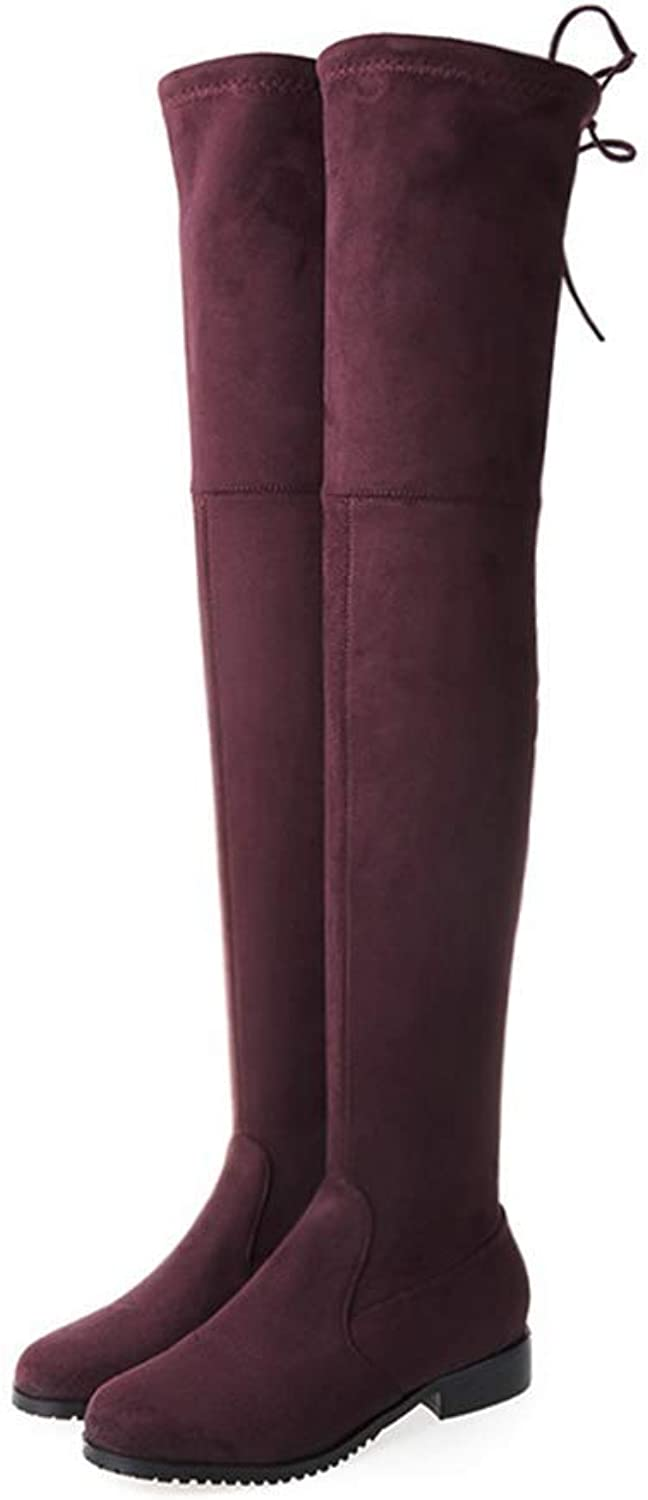 Webb Perkin Women Flat Thigh High Boots Long Autumn Winter shoes Lady Stretch Suede Over The Knee Boots