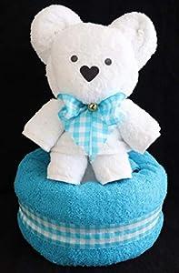 """Handtuchfigur""""Teddybär in weiß auf türkis"""""""
