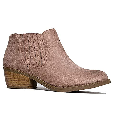 J. Adams Arlo Booties for Women - Round Toe Low Block Heel Slip On Ankle Boots