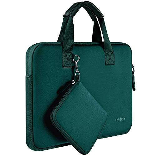 Laptop Sleeve 13 13.3 13.5 Inch Case for MacBook Air Pro 13'-13.3', Surface Laptop 13.5', Water Repellent Elastic Neoprene Notebooks Hand Bag with Handle and Small Case, Dark Green
