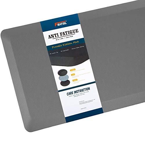 """Anti Fatigue Mat Kitchen Mats Cushioned,Thicken Core Foam 20x32x9/10-Inch,Perfect for Kitchens,Standing Desks and Garages,Phthalate Free,Relieves Foot,Knee,and Back Pain(Gray, 20""""x32"""")"""