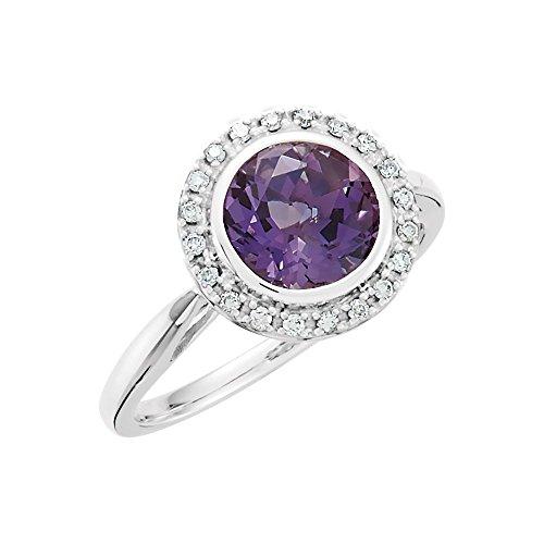 JewelryWeb Anillo de Oro Blanco de 14 Quilates Amatista y Diamante de 0,13 DWT – Talla M 1/2
