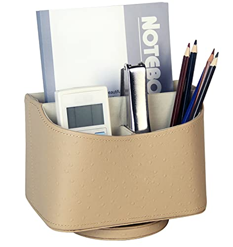 HofferRuffer Spinning Remote Control Holder, Remote Controller Holder, Remote Caddy, Media Storage Organizer, 360 Degree Spinning Remote Control Organizer, 7.3X 5.5 x 6 inches, Beige PU Faux Leather