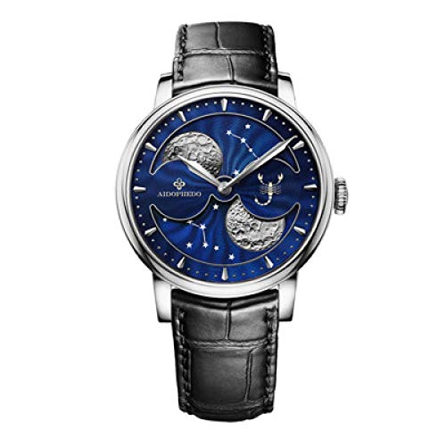 SHOUTAOB Phase Men Reloj mecánico automático para hombre, esfera azul, reloj de pulsera S RZTZDM (color: plata Escorpio)
