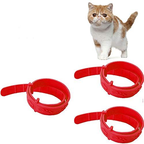 Lilon Confezione da 3 collari Anti pulci e zecche, Repellente per zecche e pidocchi per Gattini, Collare Anti zecche Regolabile da 33 cm Collare Anti