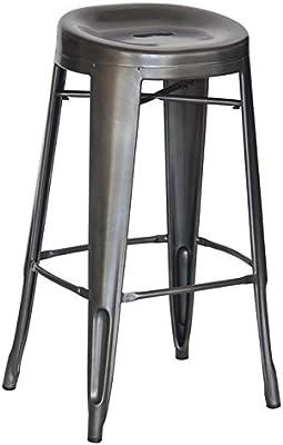 Amazon Com Chintaly Imports Galvanized Steel Bar Stool