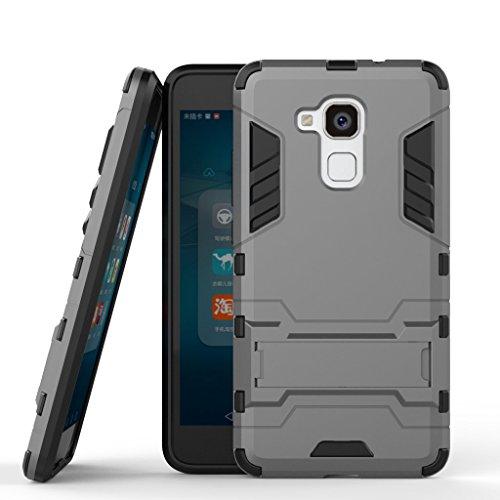 Handyhülle für Huawei Honor 5c Hülle Schale Tasche, Ougger Schutz [Kickstand] Leicht Hülle Schutz SchutzHülle Hart PC + Soft TPU Gummi Haut 2in1 Gear Rear für Huawei Honor 5c Grau