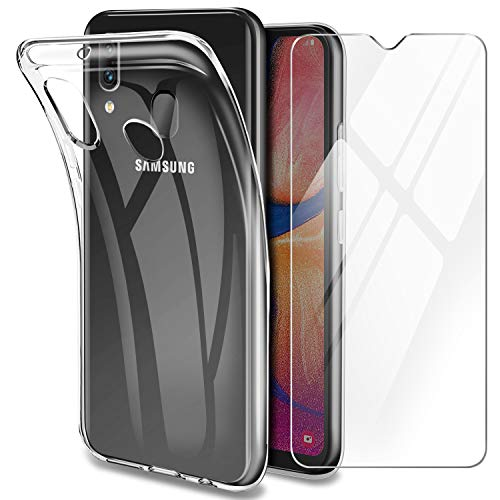 Younme Cover per Samsung A20e Custodia, Trasparente Custodia Sottile Silicone TPU Case + Pellicola Protettiva in Vetro Temperato [con Antiscivolo Mano Cinturino] Compatibile con Samsung Galaxy A20e
