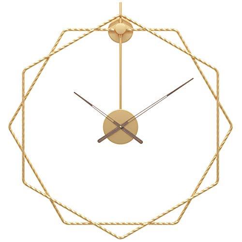 Fnho Reloj de Pared Moderno silenciosa No-Ticking,Reloj de Pared Decorar La Oficina Mute DIY,Reloj de Pared de Arte de Lujo Ligero, Reloj de Pared con Personalidad de Moda-Golden_60cm