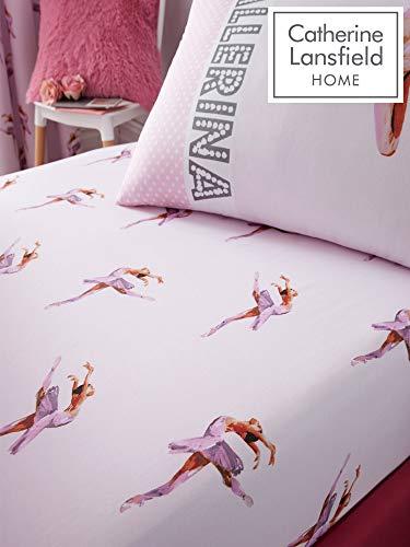 Catherine Lansfield, biancheria per camera da letto, motivo con ballerina, rosa, Rosa, Singolo