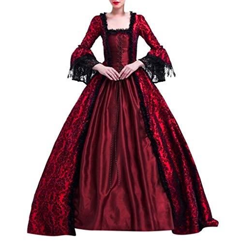 PPangUDing Mittelalter Kleid Damen Retro Gothic Steampunk Trompetenärmel Einfarbig Spitze Patchwork Gericht Stil Cosplay Kostüm Viktorianischen Prinzessin Renaissance Abendkleider Partykleid