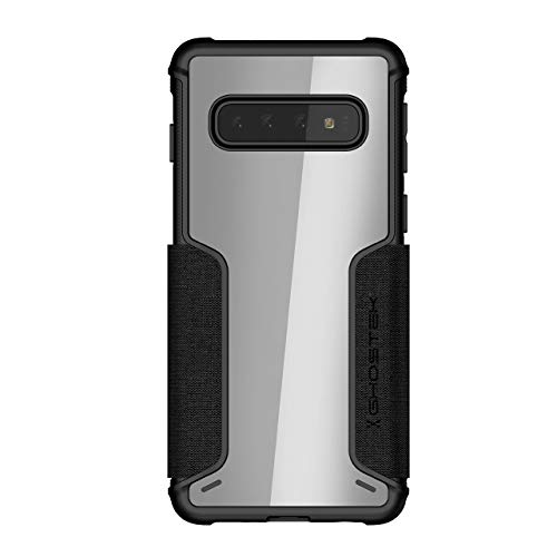 Ghostek Exec Flip Folio Wallet Galaxy S10 Case with Leather Credit Card Holder and Clear Back for Wireless Charging Compatibility Phone Cover for 2019 Galaxy S10 (6.1 Inch) (Black)