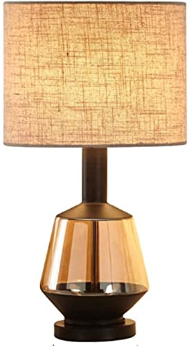 KFJZGZZ Lámpara de Mesa Post-Moderna Lámpara de Mesa de Lujo Lámpara de Vidrio Beige Lino de algodón Lámpara de mesita de Noche Lámparas de Noche (Color: a)