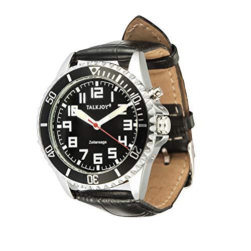 Profi Black Herren Sprechende Armbanduhr Leder Uhr Blindenuhr schwarzes Ziffernblatt Seniorenuhr