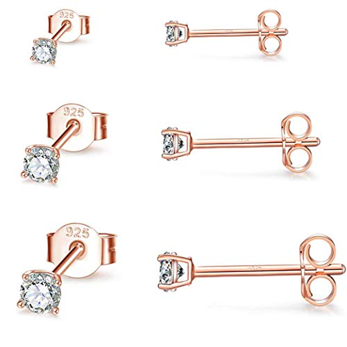 Gulicx 3 Pairs Silver Rose Gold Stud Earrings Set for Women Girls, Hypoallergenic 925 Stering Silver Round Cubic Zirconia Simulated Diamond Stud Earrings, Small Sleeper Cartilage Studs,Size:2,3,4mm