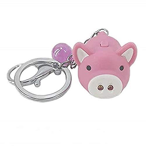 ANNIUP Lot de 3 porte-clés lumineux et sonore en forme de cochon avec lumière LED pour voiture, sac