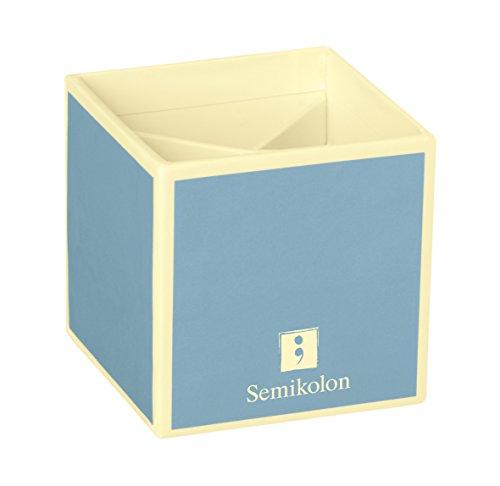 Semikolon (352848) Stifteköcher mit 4 Unterteilungen ciel (hell-blau) - Stiftehalter/Stiftablage- Schreibtisch-Köcher im Format 9 x 9 x 9 cm