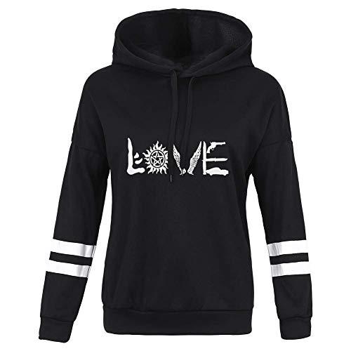 Queenromen Unisex Kapuzenpulli Damen Supernatural Aufdruck Kapuze Herren Love Forever Grafik Sweatshirt Pullover - Schwarz Love, XL