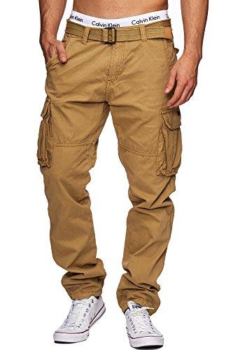 Indicode Herren William Cargohose aus Baumwolle m. 7 Taschen inkl. Gürtel | Lange Regular Fit Cargo Hose Baumwollhose Freizeithose Wanderhose Trekkinghose Outdoorhose für Männer Amber S