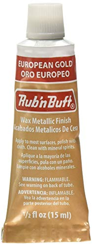 AMACO - Tubetto di Cera pulente per Finiture Metalliche, della Gamma Rub'N Buff, 15 ml, Colore: Oro Europeo