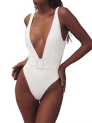 Minetom Femme Maillots de Bain Une Pièce Halter Dos Nu Maillots de Bain Amincissante Slim Monokini B Blanc FR 36