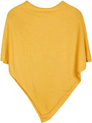 styleBREAKER Damen Feinstrick Poncho in Unifarben, leicht asymmetrischer Schnitt, Ärmellos, Rundhals 08010042, Farbe:Gelb