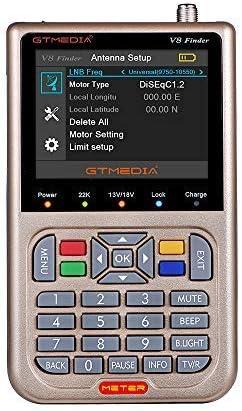 GTMEDIA V8 Sat Finder Meter TV Señal Finder Meter DVB-S / S2 / S2X HD Medidor digital Pantalla LCD de 3,5 pulgadas Pantalla LCD 3000mAh