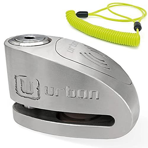 URBAN SECURITY UR910S Antivol Moto Homologué SRA Bloque Disque Alarme 120 DB ø10 mm Acier INOX + Câble de Rappel, 10 mm