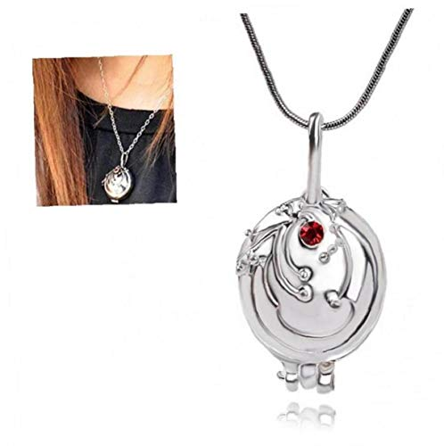 1pc The Vampire Diaries Merchandise Elena's Vervain Pendant Necklace Opening Vervain Locket Necklace Classic Movie Props Vampire Cosplay Accessories(Silver)