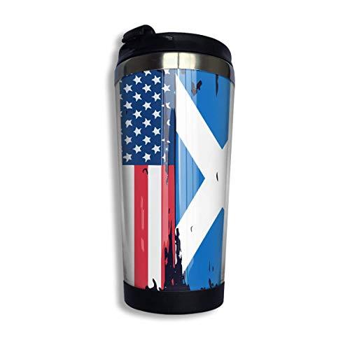 Taza de café con la bandera de Escocia americana con tapa para el té, café, viaje, taza de café, acero inoxidable, 400 ml