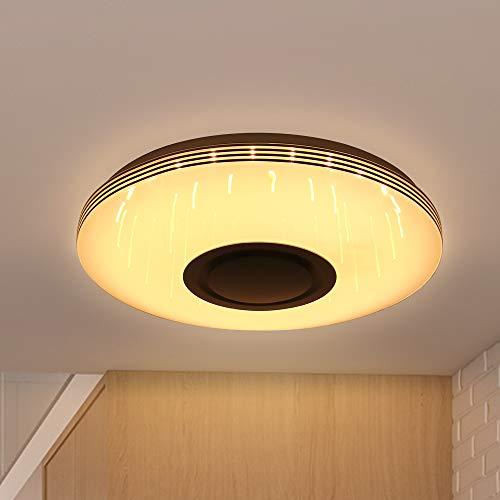 Blingbin LED Deckenleuchte Mit Bluetooth Lautsprecher, Deckenleuchte Led Farbwechsel, Musik Bluetooth Deckenleuchten, RGB Colourful, Support App Control/Fernbedienung, 36 * 36 * 7cm